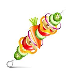 Grilled vegetables vegan kebab isolated vector