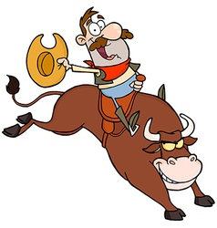 Happy Cowboy Riding Bull In Rodeo vector image vector image