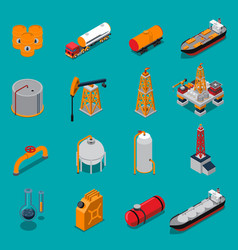 oil and gas isometric set vector image