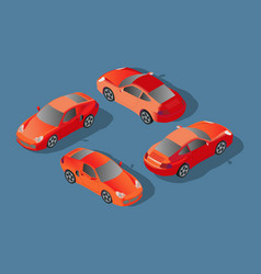 red car concept sedan automobile flat 3d vector image
