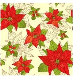 Seamless background with red Poinsettia eps10 vector image vector image