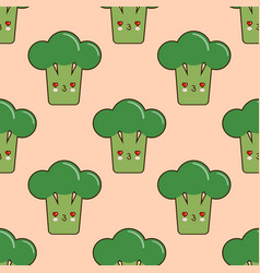 seamless pattern with cute cartoon broccoli vector image vector image
