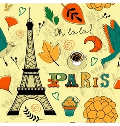 Seamless pattern with Eiffel tower vector image vector image