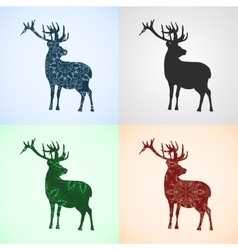 Set from deer with mandala patterns vector