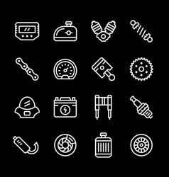 set line icons of motorcycle parts vector image vector image