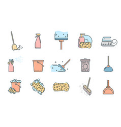 set of cleaning service icons and symbols on white vector image