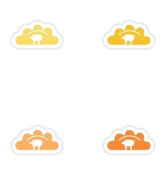 Set of paper stickers on white background dumpling vector