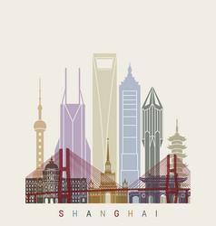 Shanghai v2 skyline poster vector