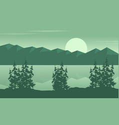 Silhouette of lake with mountain landscape vector