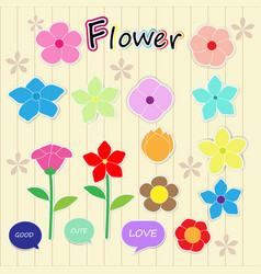 Sticker flower cartoon cute color icon vector