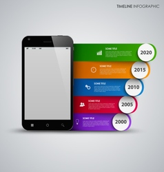 Time line info graphic with mobile phone and vector