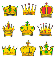 Various crown style of doodle set collection vector