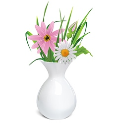 White vase with summer flowers grass and leaf vector