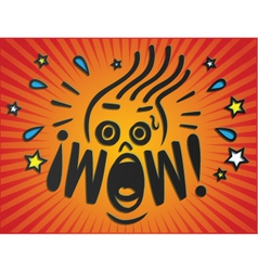 wow shocked surprised face vector image vector image