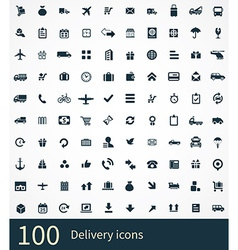 100 delivery icons set vector image vector image