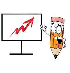 Happy pencil beside an arrow board vector