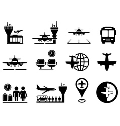 airport with plane icons set vector image