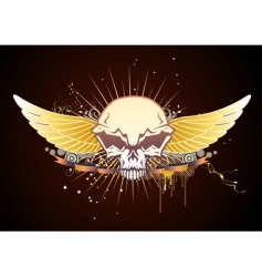 Skull winged emblem vector