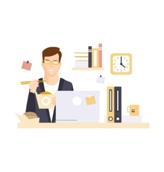 Man office worker in office cubicle eating lunch vector