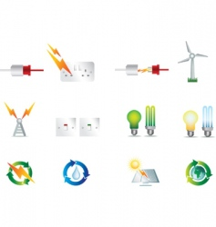 Electrical power and energy icons vector