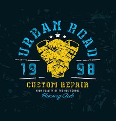motorbike repair emblem for t-shirt vector image