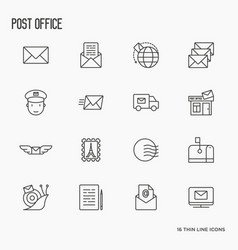 post office related thin line icons set vector image