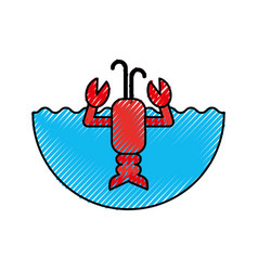 Cute lobster sealife character vector