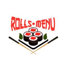 Japanese restaurant menu sushi icon vector