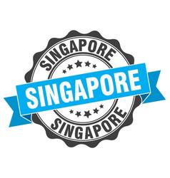 Singapore round ribbon seal vector