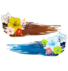 Bouquet of hibiscus on grunge background vector