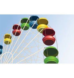 Big wheel with multicolored cabins in amusement vector
