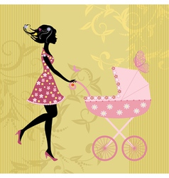Young mother with a stroller vector