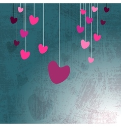Hanging hearts on grunge vector
