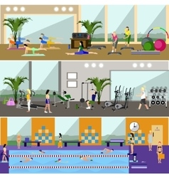 Horizontal banners with gym interiors vector