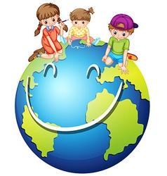 Children and happy world vector image