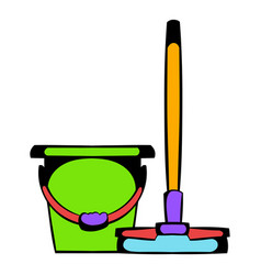 Bucket with a mop icon cartoon vector