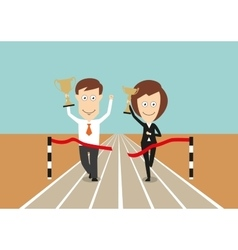 Business team crossing finish line with trophies vector