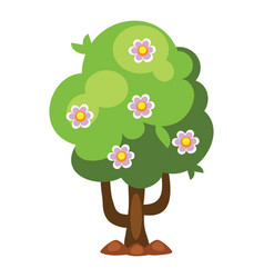 cartoon garden green tree vector image vector image