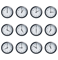 Clock set timed at each hour on white background vector image