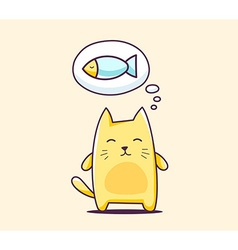 color character cat with bubble on yellow vector image