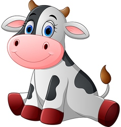 Cute baby cow cartoon sitting vector