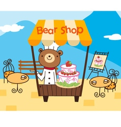 cute bear shop vector image vector image
