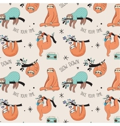 Cute hand drawn sloths seamless pattern vector