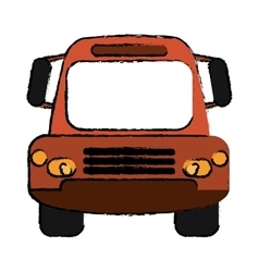 Drawing bus public transport city front view vector