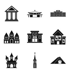 Dwelling icons set simple style vector