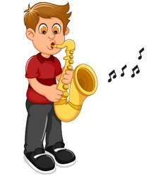 Funny boy cartoon playing trumpet vector