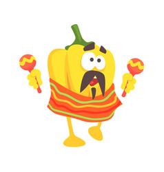 Funny cartoon yellow pepper character wearing vector