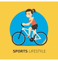 girl riding a bicycle flat vector image