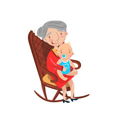 Grandmother sitting with her grandson on her knees vector