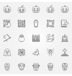 Halloween linear icons set vector image
